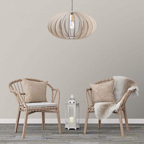 The Constantia Upper wooden pendant light in antique white