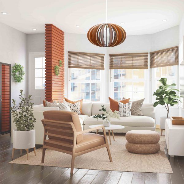 The Custom wooden pendant light shown in apartment lounge
