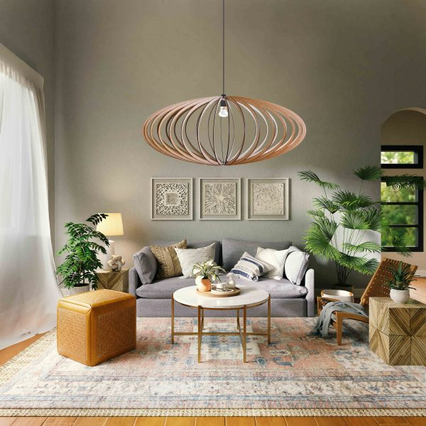 The Pinot pendant light in a gorgeous boho decor sitting room