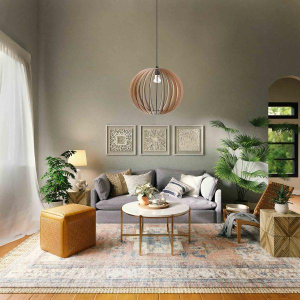 The Rondebosch pendant light in pretty boho decor lounge