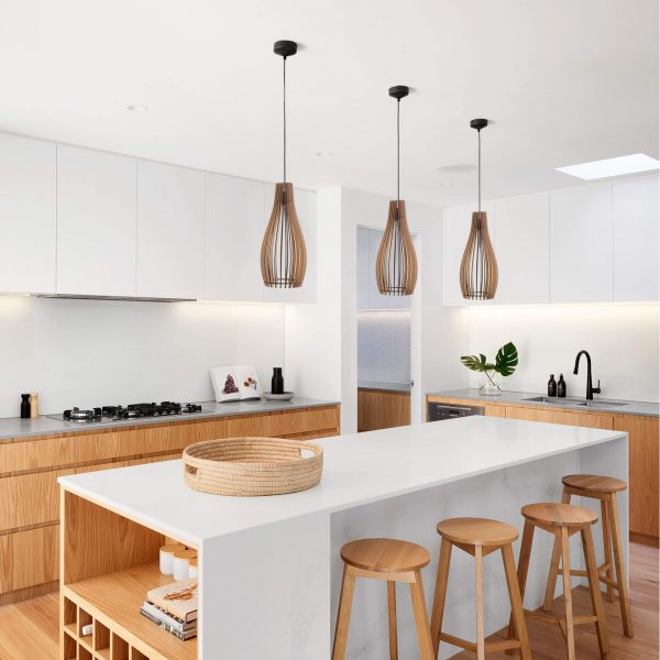 Trio of Simonstown pendant lights superimposed over a Kitchen decor image