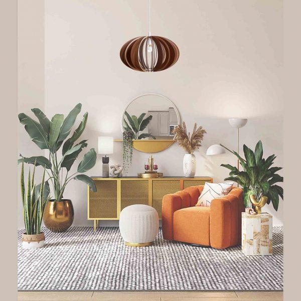 The Custom design pendant light in pretty boho decor sitting area