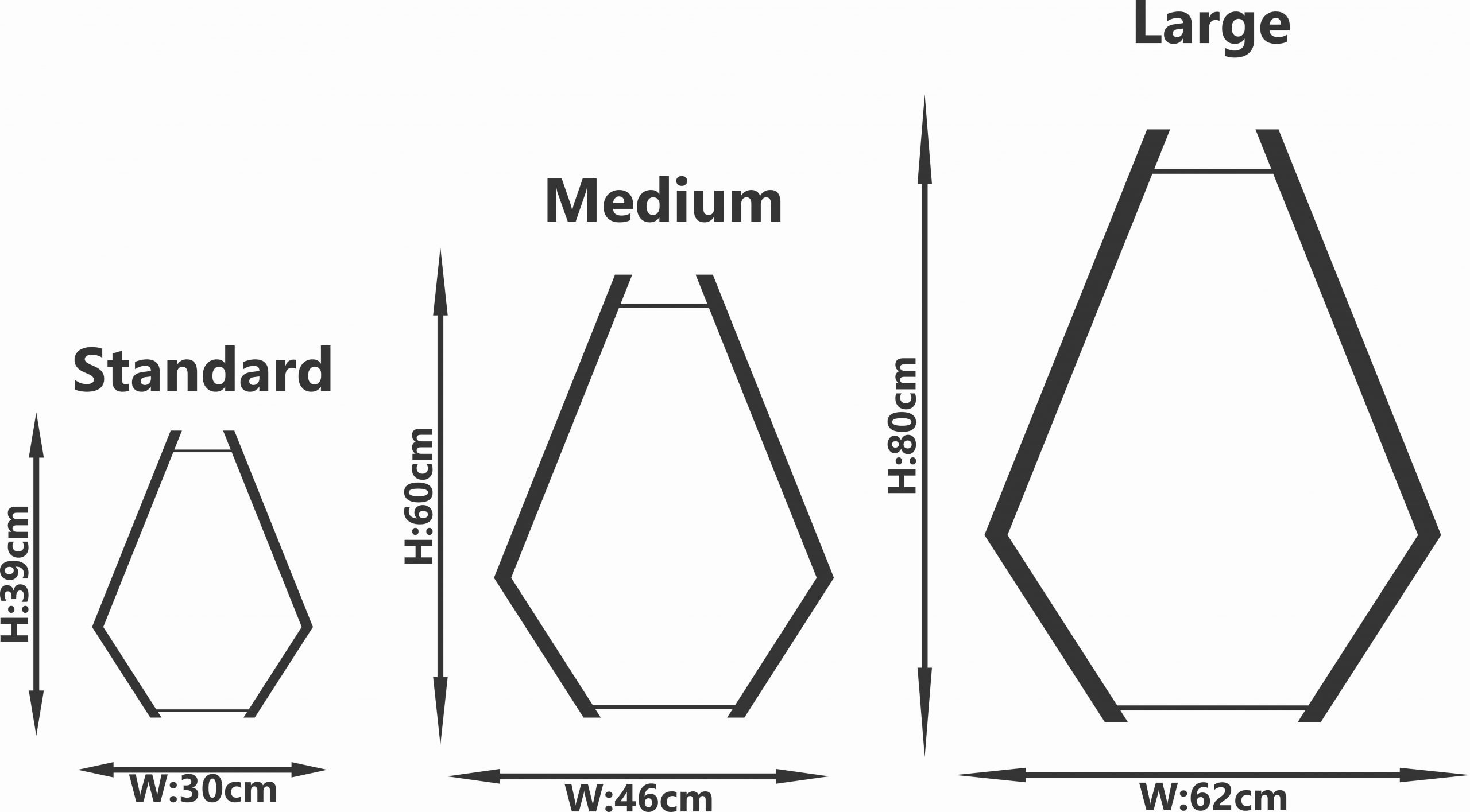 Diagram showing the 3 variations in size of 'The Tokai' wooden pendant light