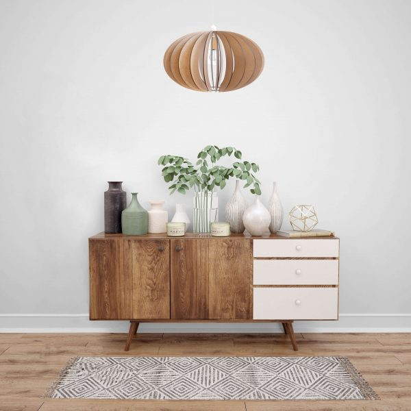 The Constantia Lower design is a neat oval-shaped wooden pendant light