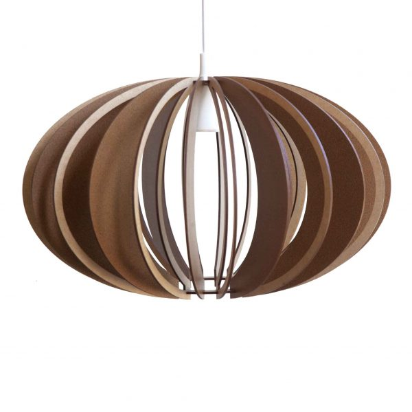 The Custom wooden pendant light with mahogany stain and cut-out in natural on each alternative bone