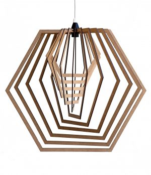 Hexagonal shape wooden pendant light