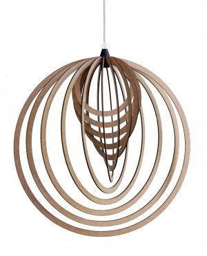 Circular design wooden pendant light