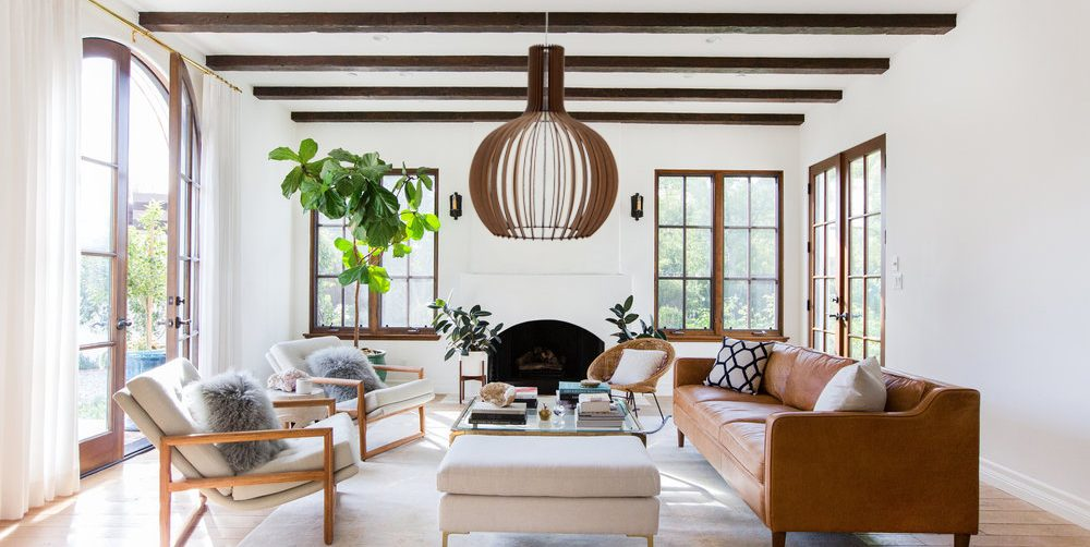 Open plan farmhouse style living room with 'The Cabernet' wooden pendant light