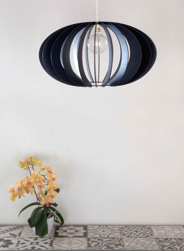 Tiled table with orchid and black version of Constantia Upper pendant light