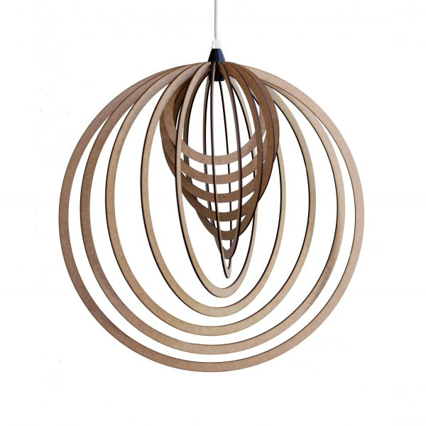The Pacific pendant is a circular wooden pendant light