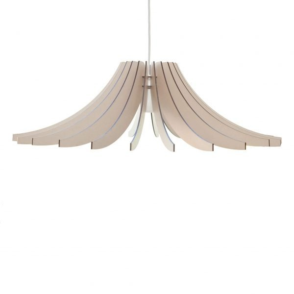 The Dahlia wooden pendant light shown here in an Antique White stain