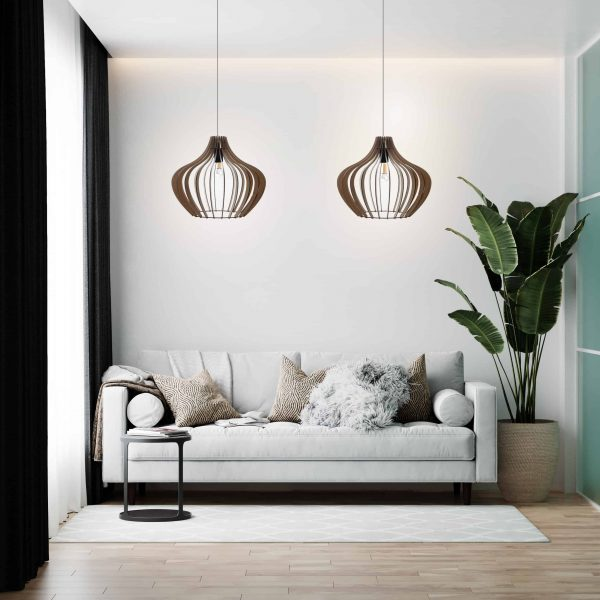 Two small Malbec pendant lights hanging side by side above a sofa