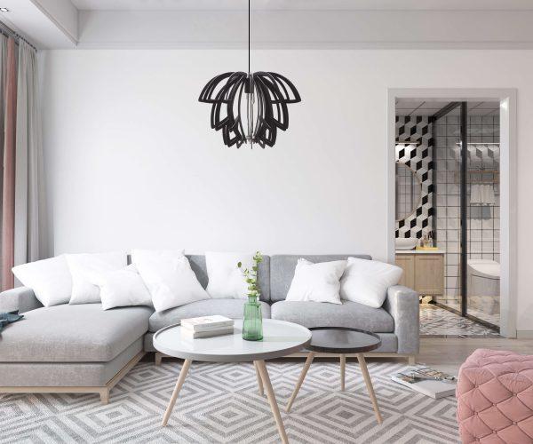 Minimalist apartment featuring the striking Lotus wooden pendant light in black