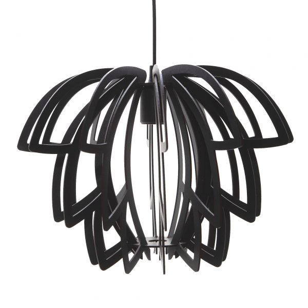 The Lotus wooden pendant light in Black