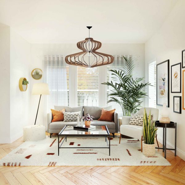 The Bishopscourt wooden pendant light show in a light airy lounge decor