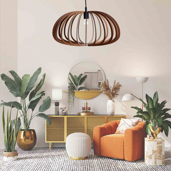 The Aquarius pendant light in Mahogany stain in a pretty sitting room with orange chair