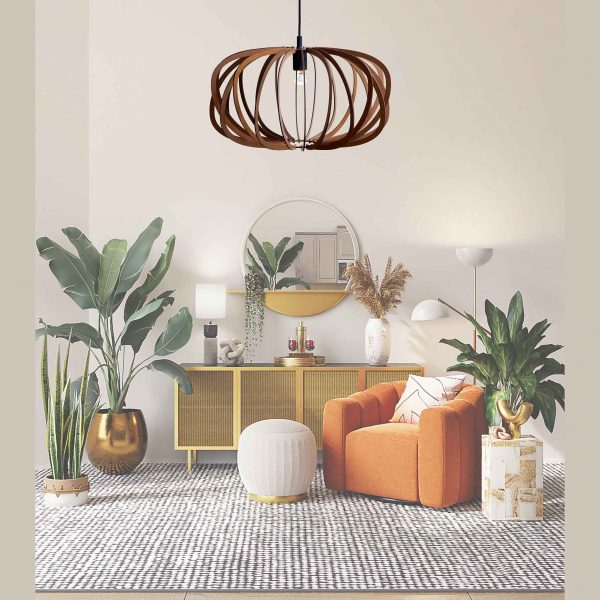The Libra style wooden pendant light in Mahogany stain