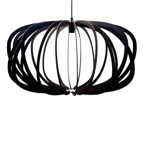 The Libra style version of the Air design wooden pendant light shown in black