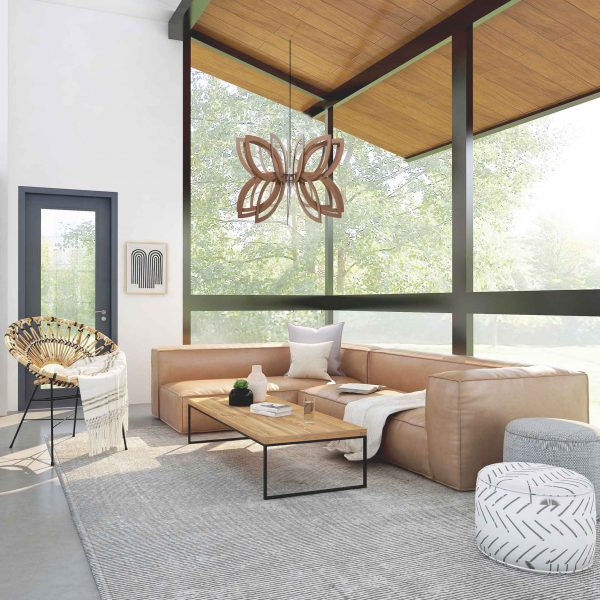 The Pisces wooden pendant light displayed in a gorgeous open plan living decor