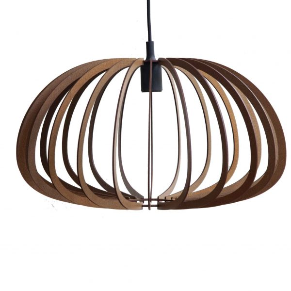 The Aquarius style of the AIR design wooden pendant light in Mahogany Stain