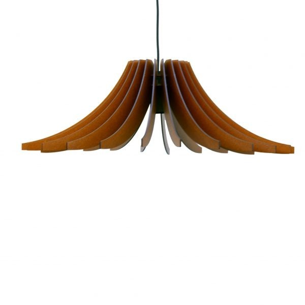 The Dahlia wooden pendant light in mahogany stain