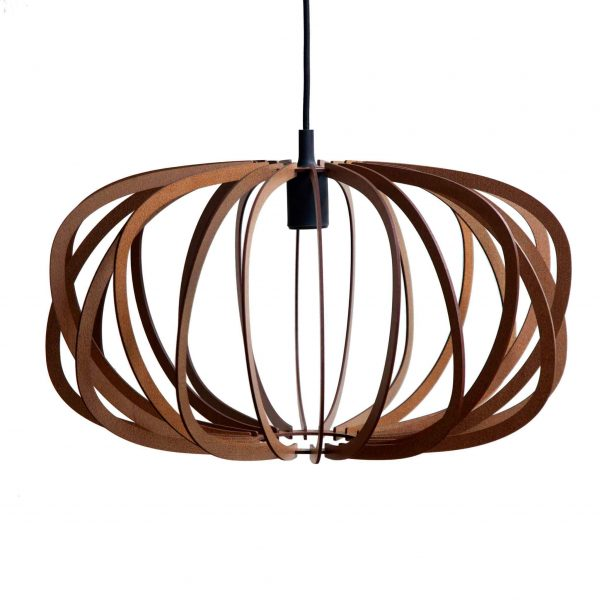 The Libra style of the AIR design wooden pendant light shown in Mahogany Stain