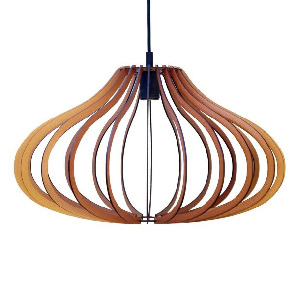 The Taurus wooden pendant light in copper