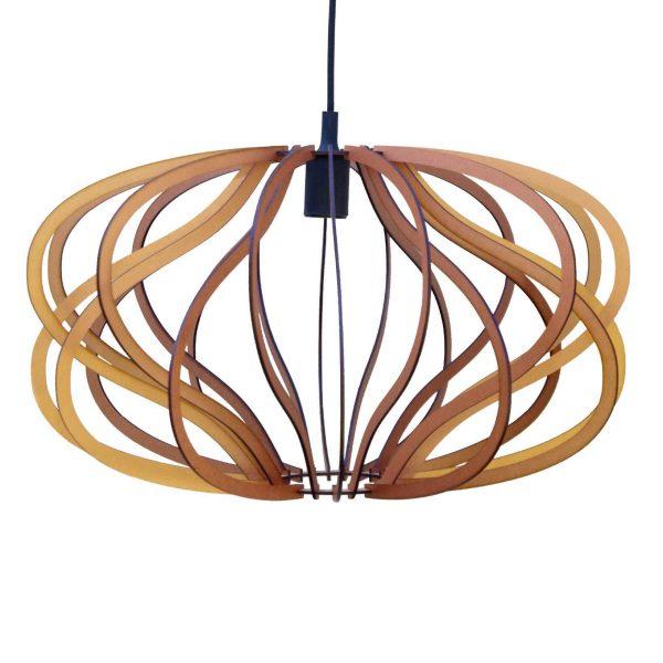 The Virgo wooden pendant light in copper