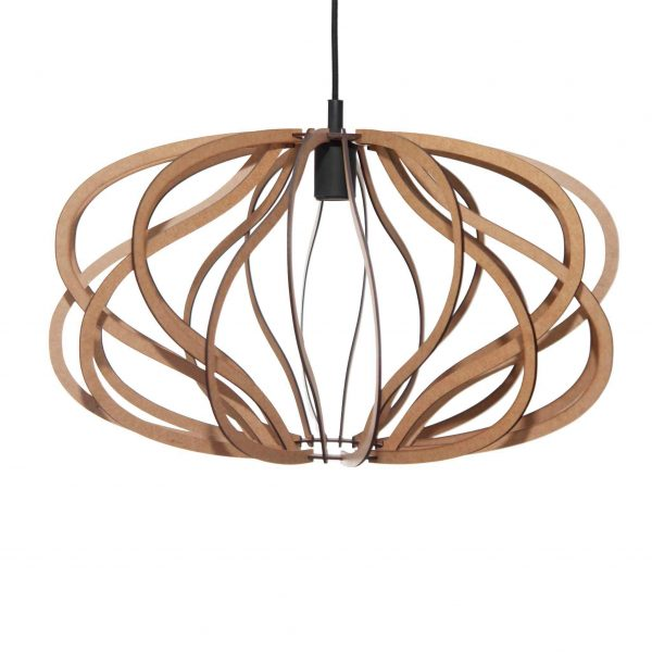 The Virgo pendant light in natural with a black cordset