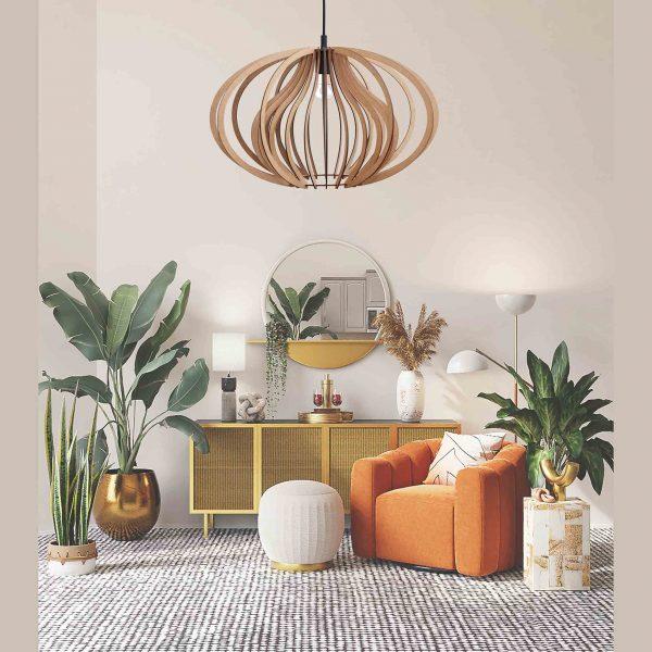 The Cassia pendant light with orange chair
