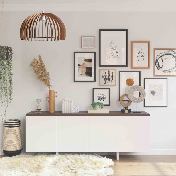 The Shiraz wooden pendant light in natural over an attractive sideboard entrance