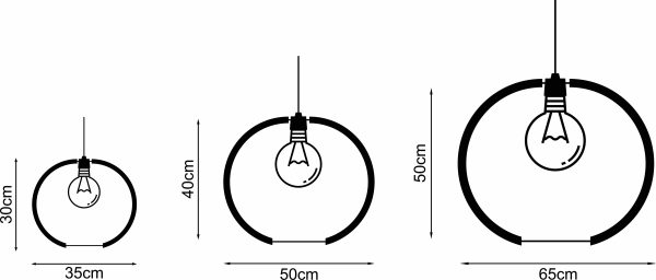 Diagram representing the 3 sizes The Rondebosch pendant light is available in