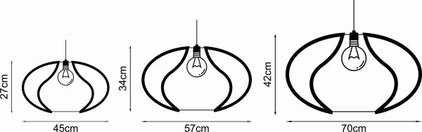 Diagram representing the 3 sizes of the Cassia wooden pendant light