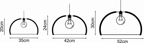 Diagram representing the 3 different sizes of The Shiraz wooden pendant lights